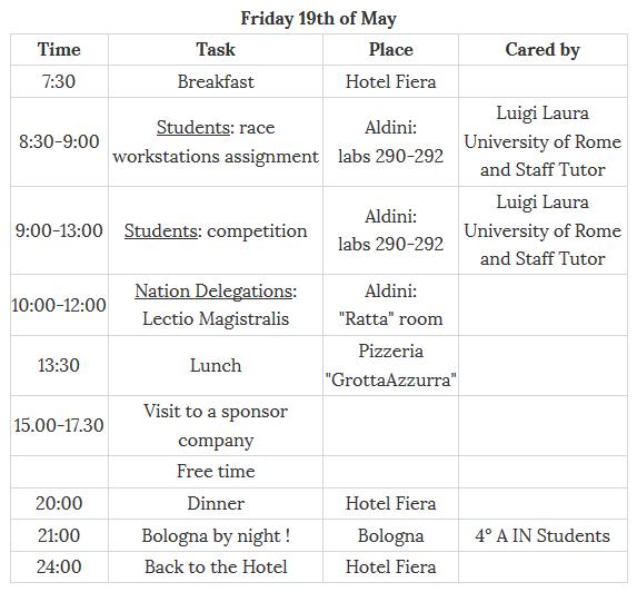 pre schedule third day ESCAPE='HTML'